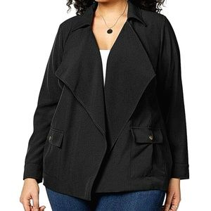 NWT NY Collection Black Open-front Blazer